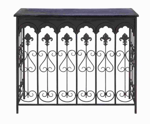 Metal Wood Console in Dark Cherry Red Finish with Royal Touch Brand Woodland