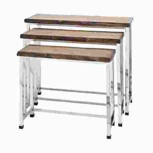 Metal Wood Console Table Top in Weathered Finish (Set of 3) Brand Woodland