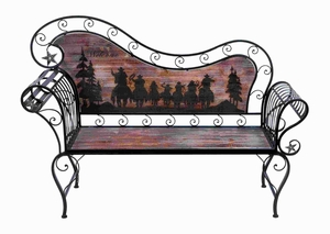 Metal Wood Cowboy Bench in Light Natural Finish & Stylish Curve Brand Woodland