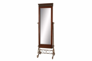 Metal Wood Mirror with Stand, 68 Inch x 23 Inch Brand Woodland