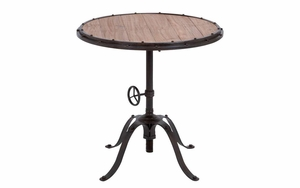 Metal Wood Round Table With Height Adjusting Arrangements Brand Woodland