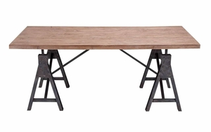 Metal Wood Table With Natural Wooden Brown Top And Black Structure Brand Woodland