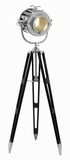 Metal Wood Tripod Spot Light with Silvery Metallic Finish Brand Woodland