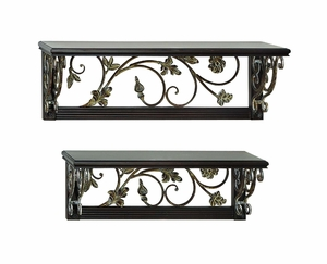 Metal Wood Wall Shelf with Intricate Design in Brown - Set of 2 Brand Woodland