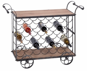 Metal Wood Wine Trolley With Great Two Tier Storage Capacity Brand Woodland