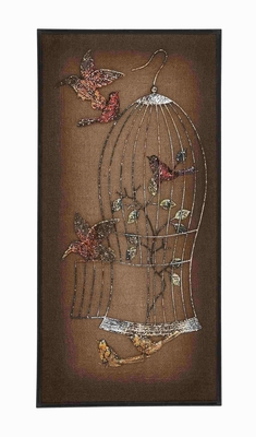 Metal Wooden Birds Themed Burlap Wall Panel D�cor Brand Benzara