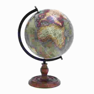 Metal Wooden Globe with Distinctive Pattern in Rustic Color Brand Woodland