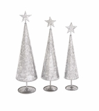 """Metal Xmas Trees Set Of 3 w/ Star & Silver Leaf Design S/3 24"""", 22"""", 20""""H by Woodland Import"""