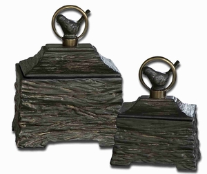 Metalic Ceramic Box Set With Antiqued Bronze Accents Brand Uttermost