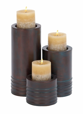 Metallic Candle Holder Set Of Three An Affordable Excellent Festive Gift Brand Woodland