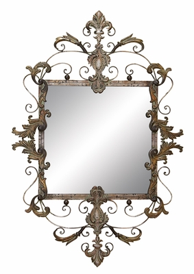 Metallic Carved Mirror with Artistic Design and Victorian Look Brand Woodland