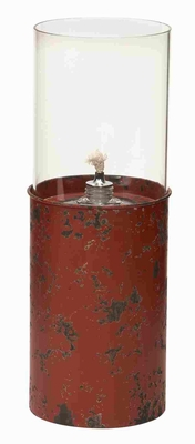 Metallic Glass Oil Lamp in Red Finish with Modern Design Brand Woodland