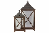 Metallic Roofed Wooden Lantern Set of Two w/ Crossed Design on Each Side of the Glass Panel