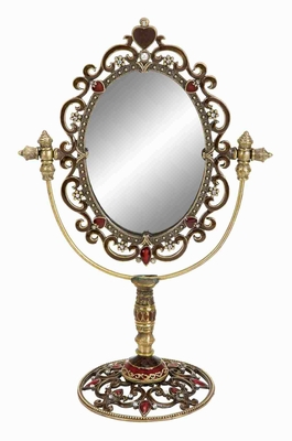 Metallic Table Top Mirror with Antiqued and Intricate Design Brand Woodland