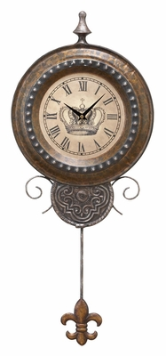 Metallic Wall Clock in Round Shaped with Vintage Design Brand Woodland