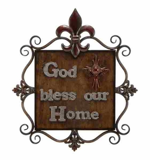 Metallic Wall Plaque in Bronze Finish with Intricate Design Brand Woodland