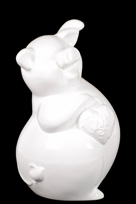 Mexican's Attractive Ceramic Piggy Bank White
