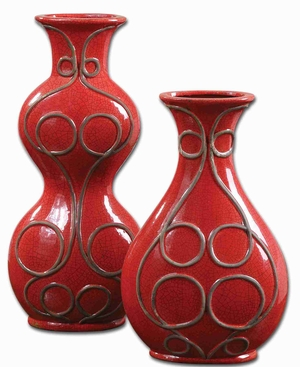 Miaka Style Flower Vase In Crackled Red and Black Accents Brand Uttermost