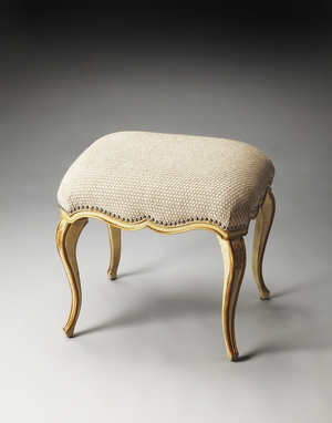 """Michelline Cream & Gold Painted Vanity Stool 23""""W by Butler Specialty"""