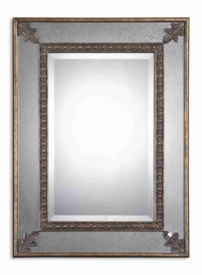 Michenlia Wall Mirror with Antiqued Gold Leaf Side Mirrors Brand Uttermost