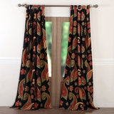 Midnight Paisley colourful Window Panel Pair - 1604AWP by Greenland Home Fashions