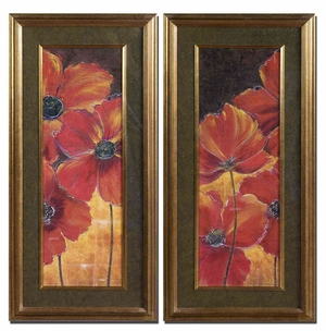Midnight Poppy Floral Art in Brown and Black - Set of 2 Brand Uttermost