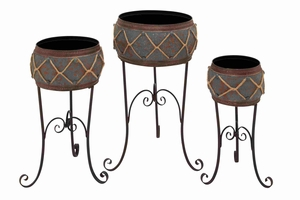 Milan Enchanting Floor Planter Set Brand Benzara