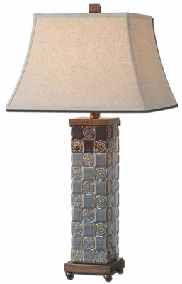 Mincio Ceramic Table Lamp with Bronze Detailing Brand Uttermost