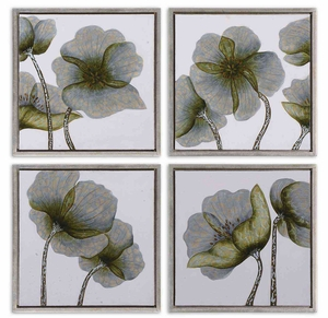 Mini Floral Glow Wall Art in Silver Leaf - Set of 4 Brand Uttermost