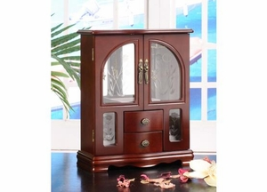 Minna Two Door Jewelry Box with Sleek Design in Mahogany Brand Nathan