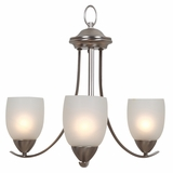 Mirror Lake Adorable Piece of 3 Light Chandeliers in Brushed Nickel by Yosemite Home Decor