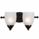 Mirror Lake Beautifully Styled 2 Lights vanity with White Etched Glass by Yosemite Home Decor