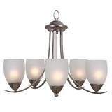 Mirror Lake Enticing Piece of 5 Lights Chandelier in Brush Nickel by Yosemite Home Decor