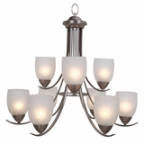 Mirror Lake Marvelously Styled 9 Lights Chandelier in Brushed Nickel by Yosemite Home Decor