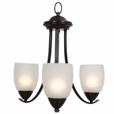 Mirror Lake Mesmerizingly Styled 3 Lights Chandelier with White Etched Glass by Yosemite Home Decor