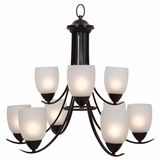 Mirror Lake Stunning piece of 9 Lights Chandelier with White Etched Glass by Yosemite Home Decor