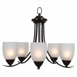 Mirror Lake Wonderfully Styled 5 Lights Chandelier with White Etched glass by Yosemite Home Decor