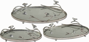 Mirrord Style Tray With Theme of Birds on a Limb Brand Uttermost