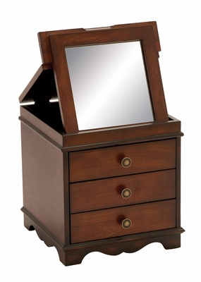 Mirrored Jewelry Box With Treated Mahogany Wood Brand Woodland