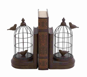 Modena Bird Cage Bookend Pair Delightful Creation Brand Benzara
