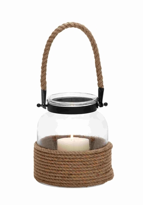 23824 Contemporary Designed Glass And Rope Metal Lantern With Rope Handle - 23824 by Benzara