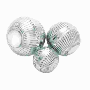 Modern Aluminum Decor Ball in Silver Finish (Set of 3) Brand Woodland