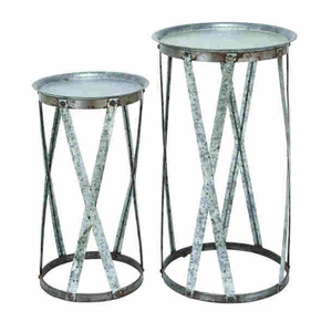 Modern and Conventional Decor Metal Pedestal (Set of 2) Brand Woodland