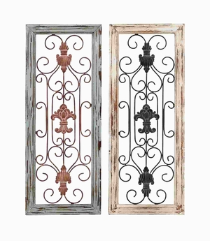 Modern and Minimalistic Style Wood Metal Wall Panel (Set of 2) Brand Woodland