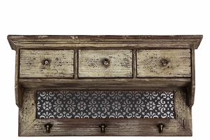 Modern and Striking Floral Designed Wooden Wall cabinet