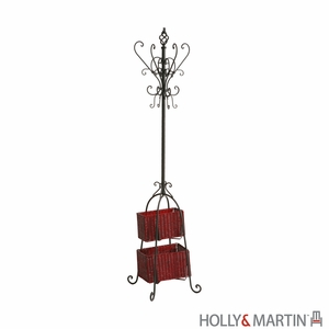 Modern and Trendy Hall Tree with Rattan Baskets by Southern Enterprises