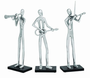 Modern Assorted Aluminum 3 Different Musician Sculpture - Set of 3