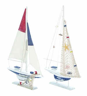 Modern Assorted Nautical Wooden Sail Boat in White Finish - Set of 2 Brand Woodland