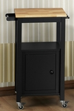 Modern Black Metal Kitchen Cart with a Wooden Top by 4D Concepts