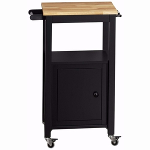 4D Concepts Modern Black Metal Kitchen Cart with a Wooden Top by 4D Concepts